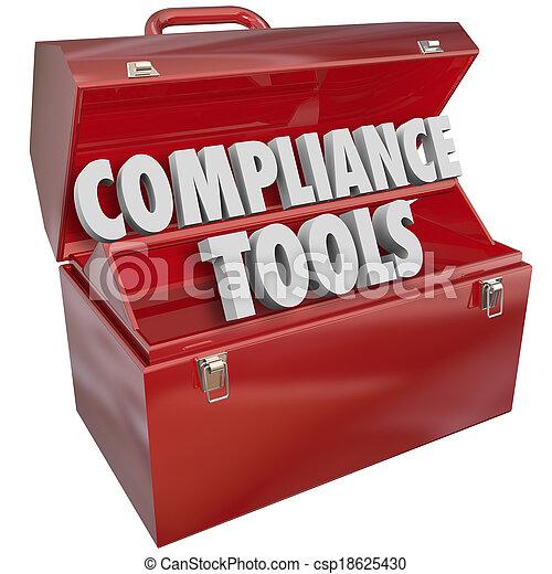 kennis, vaardigheden, naleving, regels, volgend, toolbox, gereedschap, wetten - csp18625430
