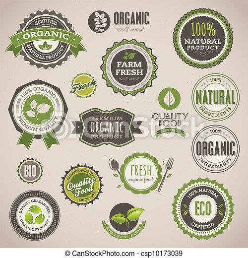 kentekens, set, organisch, etiketten - csp10173039