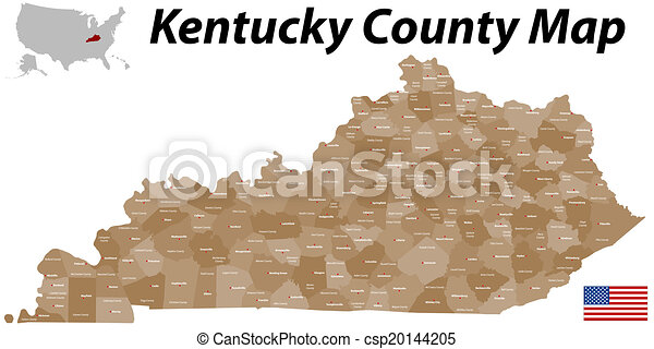 Kentucky county map. A large and detailed map of the state of ...