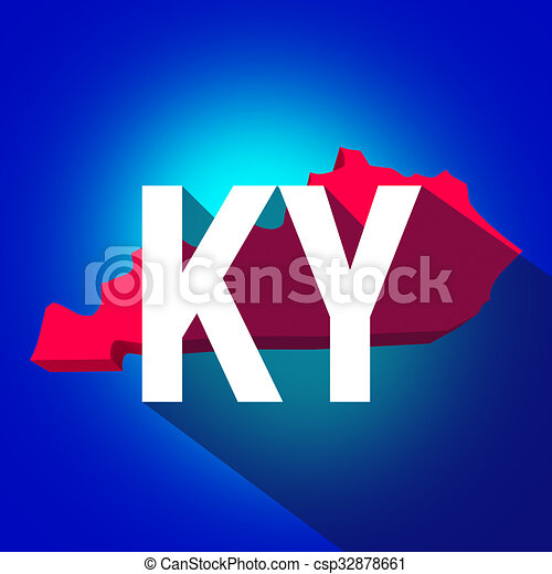 Kentucky KY Letters Abbreviation Red 3d State Map Long Shadow