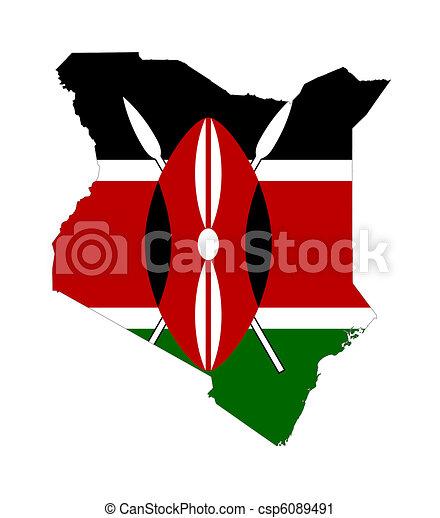 Kenya flag on map - csp6089491