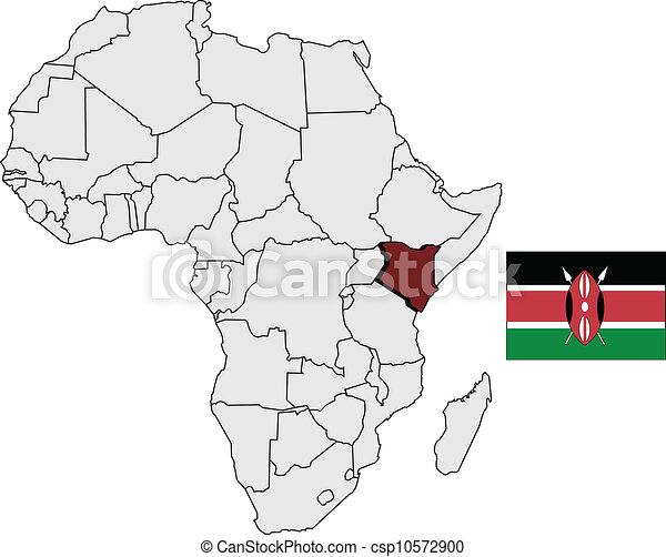 Kenya map and flag - csp10572900