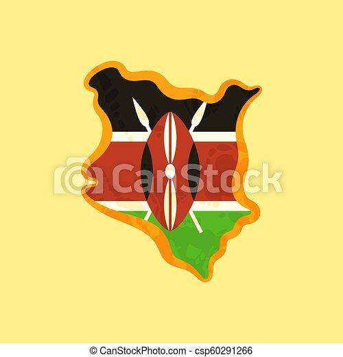 Kenya - Map colored with Kenyan flag - csp60291266