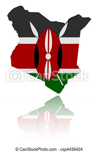 Kenya map flag with reflection - csp4436424