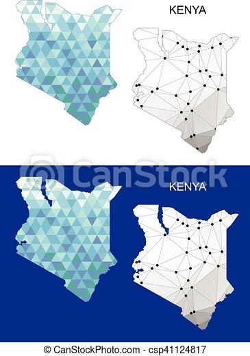 Kenya map in geometric polygonal. - csp41124817