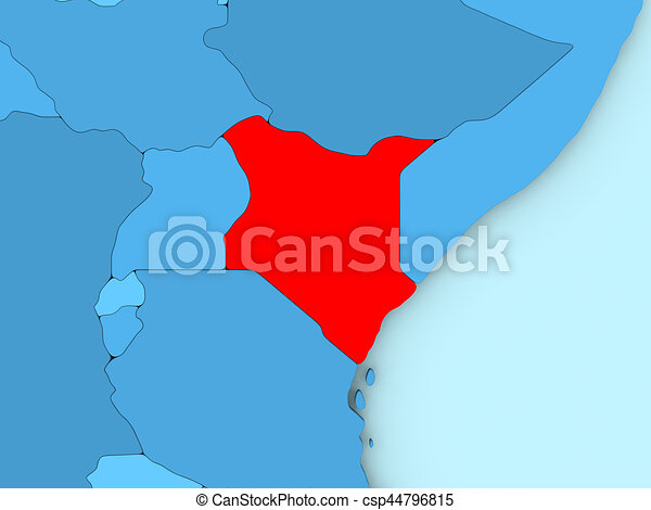 Kenya on 3d map country of kenya highlighted in red on blue map 3d kenya on 3d map csp44796815 gumiabroncs Choice Image