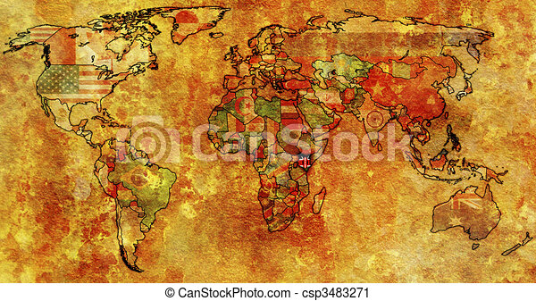 Kenya on world map old political map of world with flag of kenya on world map csp3483271 gumiabroncs Image collections