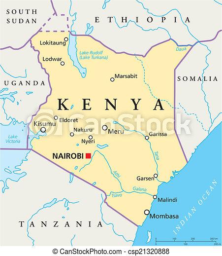 Kenya Political Map - csp21320888