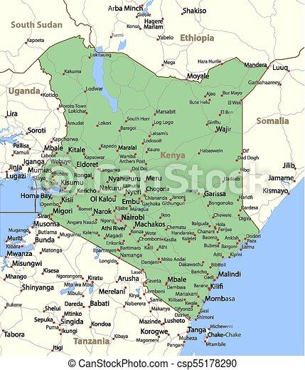 Kenya World Countries Vectormap A Map Of Kenya Shows Country
