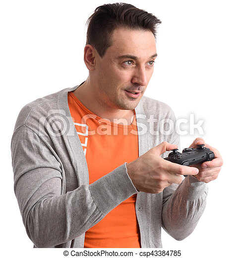kerel, computer spel, spelend - csp43384785