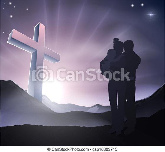 keresztény, fogalom, húsvét, család - csp18383715