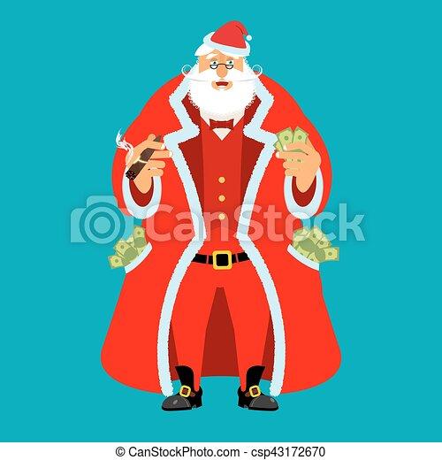 kerstman, man, na, oud, rijkdom, work., claus, geld., pocketful, kasgeld., emolument, inkomsten, partij, jaar, kerstmis., nieuw, income., rijk, kerstmis, koel - csp43172670