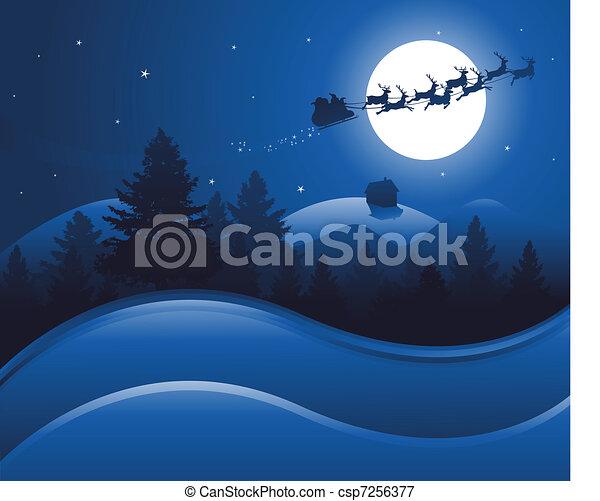 kerstmis, achtergrond, nacht - csp7256377
