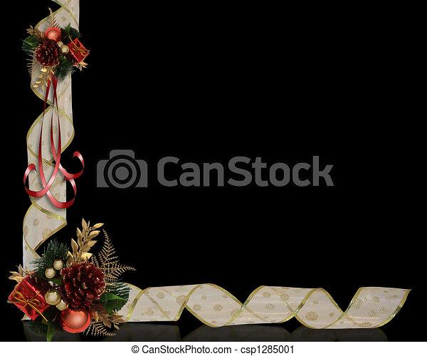 kerstmis, grens, linten - csp1285001