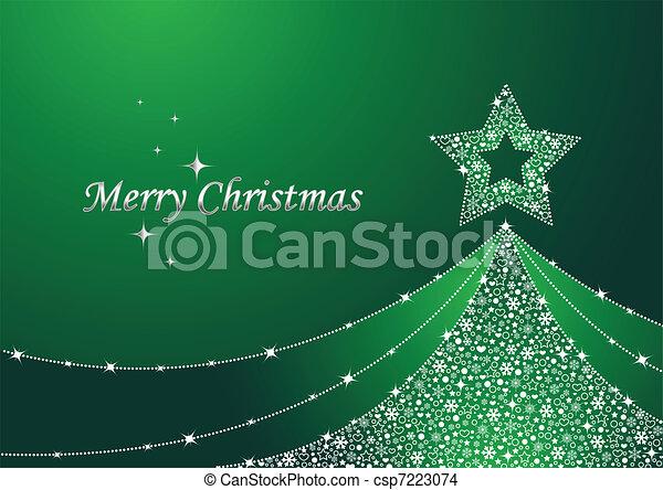 kerstmis, groen boom - csp7223074
