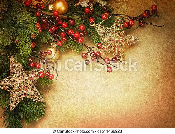 kerstmis kaart, retro - csp11466923