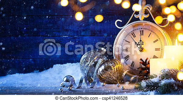 kerstmis, kunst, jaren, eve;, achtergrond, nieuw, vakantie, of - csp41246528