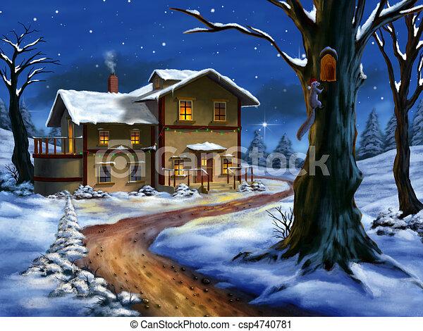 kerstmis, landscape - csp4740781