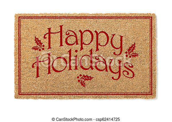 kerstmis, mat, welkom, vrijstaand, feestdagen, achtergrond, witte , looien, vrolijke  - csp62414725