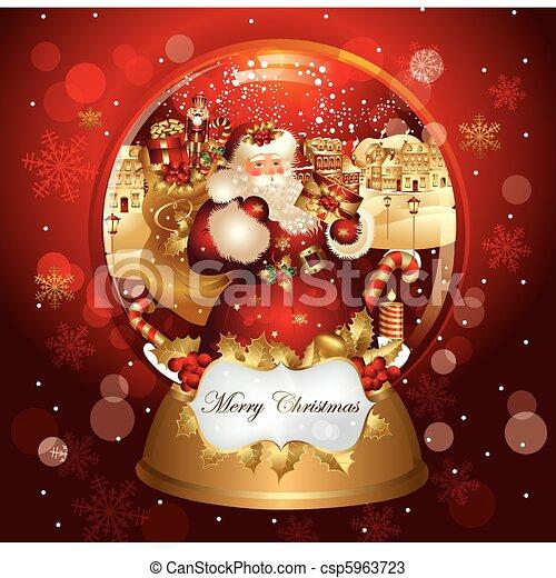 kerstmis, spandoek, claus, kerstman - csp5963723