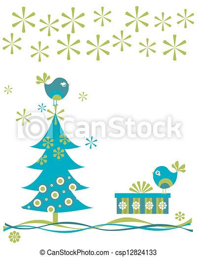 kerstmis, vogels - csp12824133