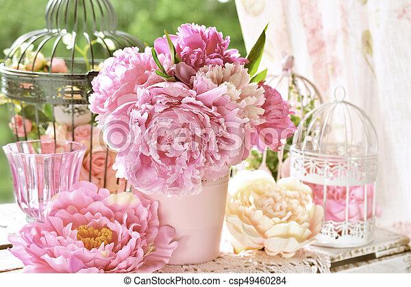 kert, babarózsa, szín, hatás, váza, asztal, csokor - csp49460284