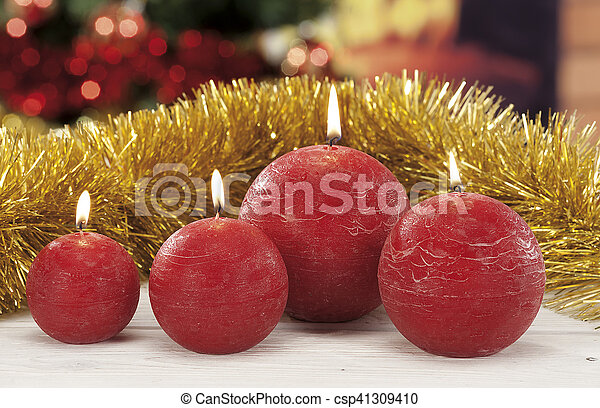 kerzen, closeup, weihnachten, rotes  - csp41309410