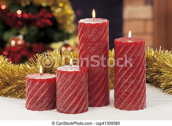 kerzen, closeup, weihnachten, rotes  - csp41309380