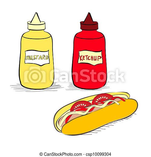 Ketchup and mustard bottles with hot dog - csp10099304