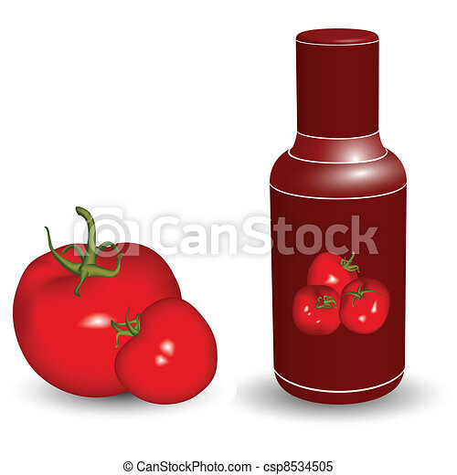 ketchup bottle with tomatoes - csp8534505