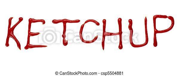 ketchup letter word seasoning condiment food - csp5504881