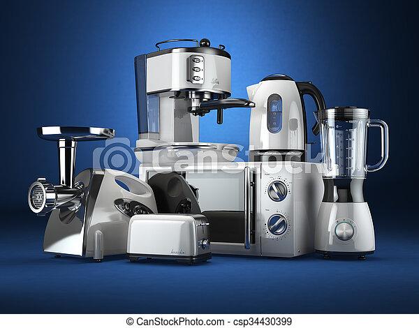 Kettle Microgolf Machine Ginder Koffie Oven Mixer Appliances Keuken Toaster Vlees 3d