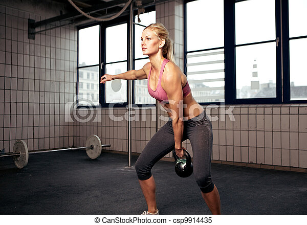 Kettlebell Workout Young Adult Fitness Woman Doing Swing Exercise