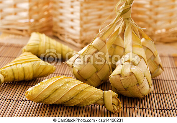 Ketupat or rice dumpling.  - csp14426231