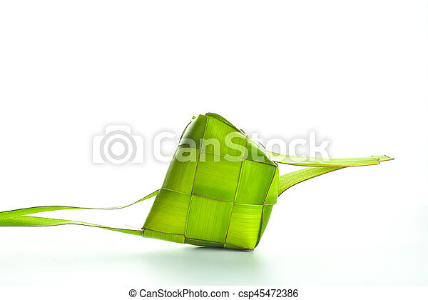 Ketupat (Rice Dumpling). Ketupat is a natural rice casing made from young coconut leaves for cooking rice during eid Mubarak - csp45472386
