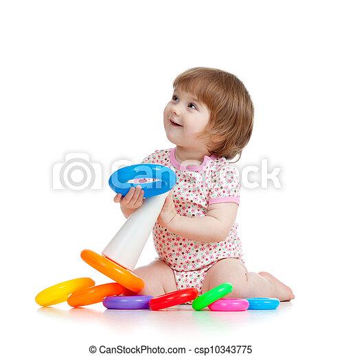 kevés, játékszer, szín, játék, meglehetősen, gyermek, vagy, kölyök - csp10343775