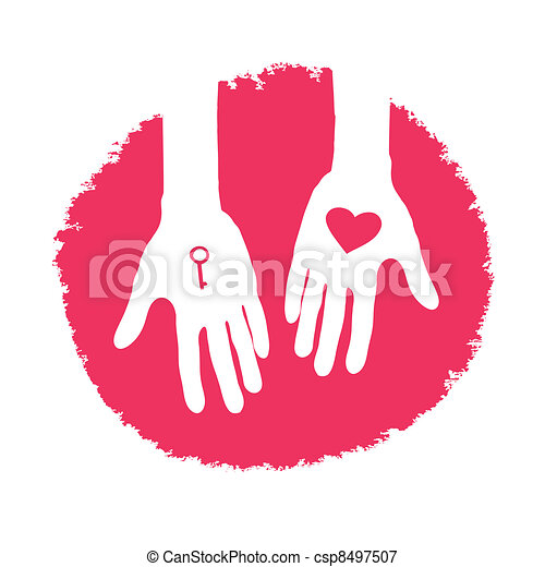 Key and heart as a gift. Valentines day logo design, vector illustration. - csp8497507