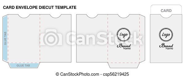 key card envelope die cut template mockup vector