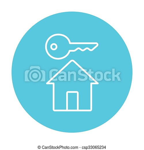 Key for house line icon. - csp33065234