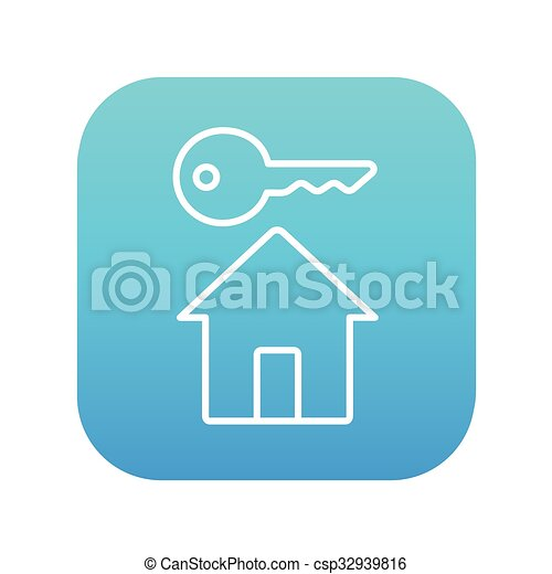 Key for house line icon. - csp32939816