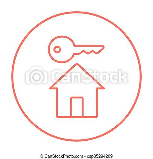 Key for house line icon. - csp35294209