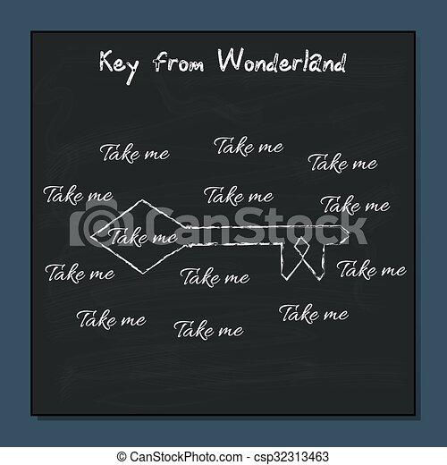 Key from Alice Adventures in Wonderland.  - csp32313463