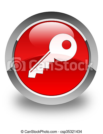 Key icon glossy red round button - csp35321434