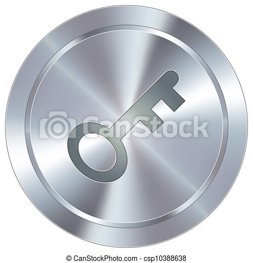 Key icon on industrial button - csp10388638