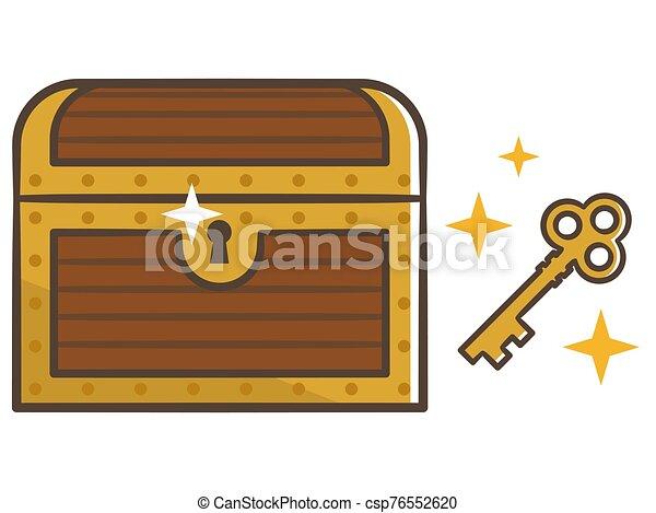 key., ilustración, pecho de madera, chest., cerrado, tesoro - csp76552620
