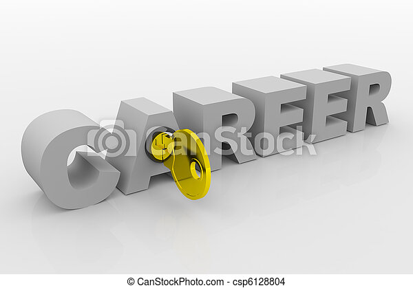 Key to career into 3D word. Concept. 3D render image. - csp6128804