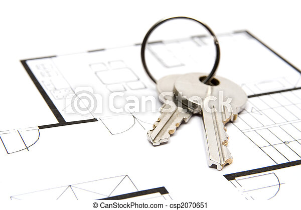Key to housing key situated on blueprint of house estate agency key to housing csp2070651 malvernweather Images