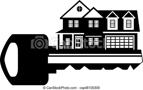 Key To New House Black And White Illustration