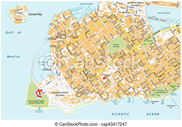 Key west road map florida united states. Key west road map with road ...
