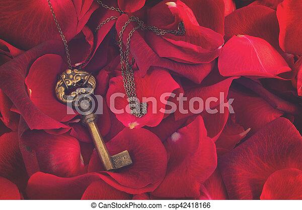 Key with crimson rose petals - csp42418166